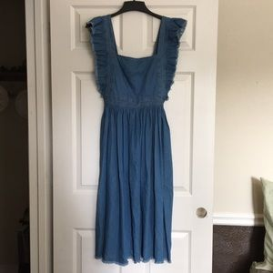 Silence + Noise open back denim apron dress